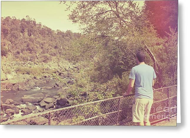 Traveling Person Enjoying Cataract Gorge Walk Greeting Card