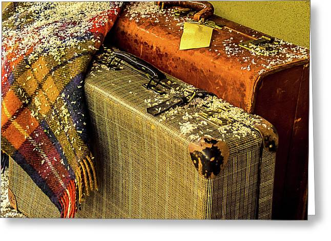 Greeting Card featuring the photograph Traveling Vintage Bags Blanket And Snow by Julie Palencia
