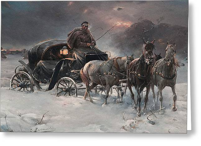 Traveller On A Winter Night Greeting Card