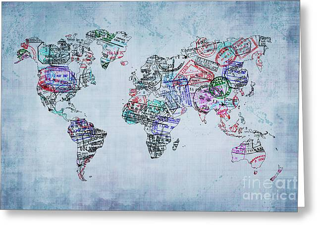 Traveler World Map Greeting Card by Delphimages Photo Creations