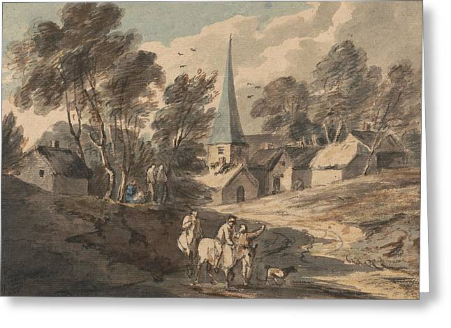 Travellers On Horseback Approaching A Village With A Spire  Greeting Card by Thomas Gainsborough