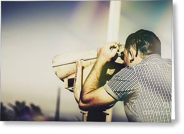 Travelling Man Looking Through Binoculars Greeting Card by Jorgo Photography - Wall Art Gallery