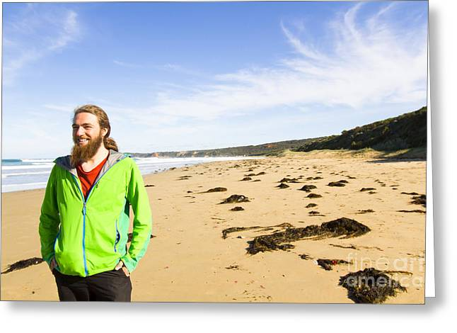 Travelling Man On A Beach In Victoria Greeting Card by Jorgo Photography - Wall Art Gallery
