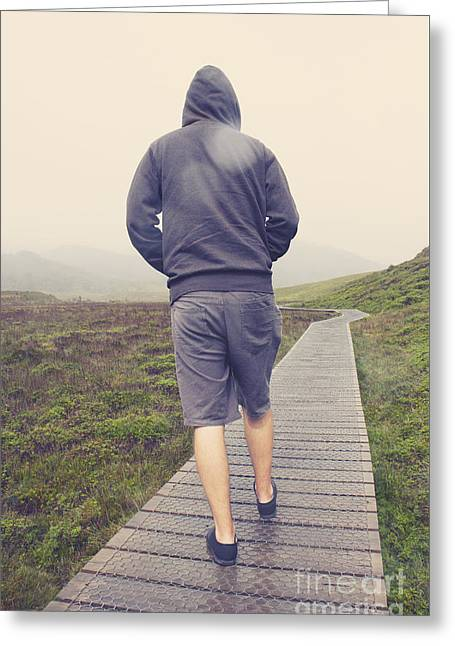 Travelling Man On Winter Walking Hike To Tasmania Greeting Card by Jorgo Photography - Wall Art Gallery