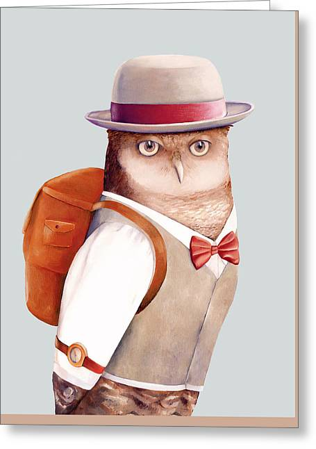 Travelling Owl Greeting Card by Animal Crew