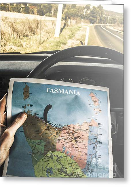 Travelling Tourist With Map Of Tasmania Greeting Card