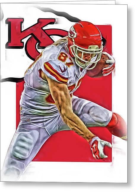 Travis Kelce Kansas City Chiefs Oil Art Greeting Card