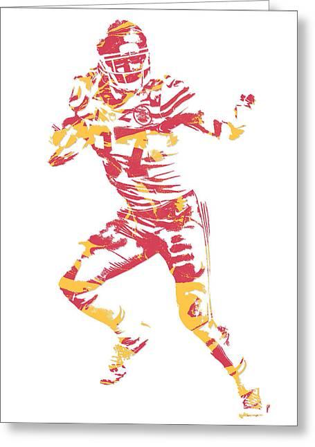 Travis Kelce Kansas City Chiefs Pixel Art 7 Greeting Card
