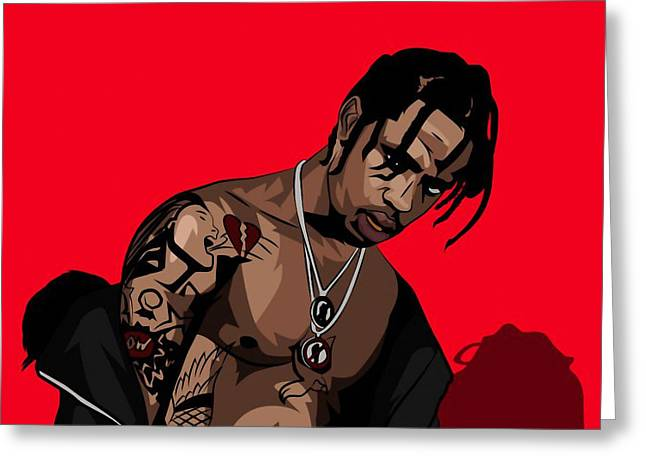 Travis Scott Greeting Card by Nickolay Demidov