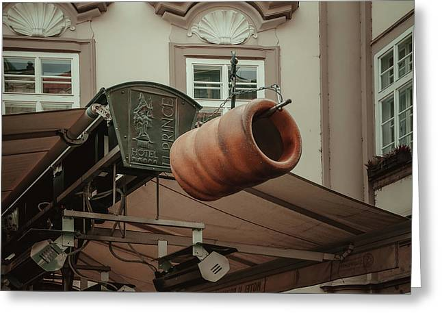 Greeting Card featuring the photograph Trdelnik. Prague Architecture by Jenny Rainbow