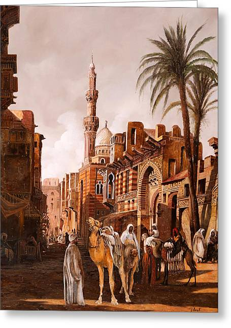 tre cammelli in Egitto Greeting Card by Guido Borelli