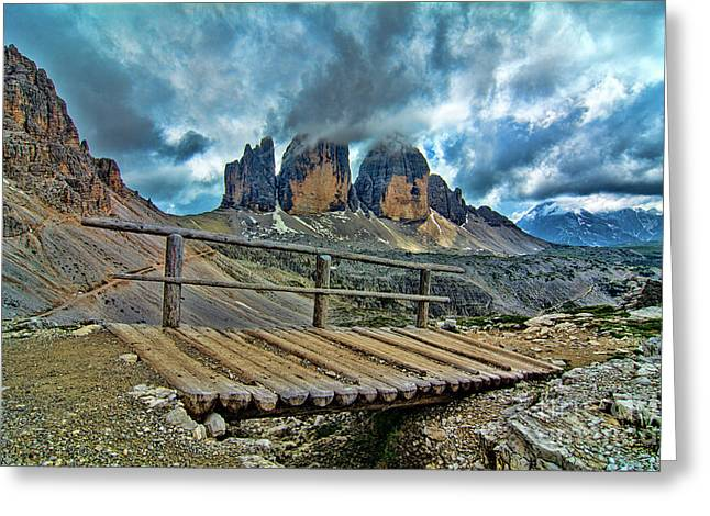 Tre Cime And Wooden Bridge Greeting Card