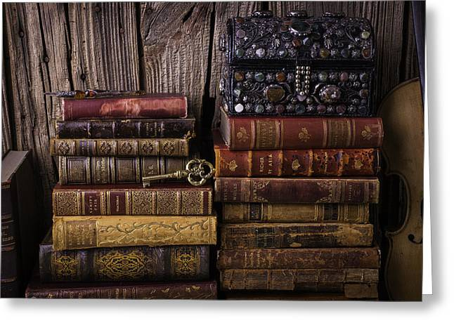 Treasure Box On Old Books Greeting Card by Garry Gay