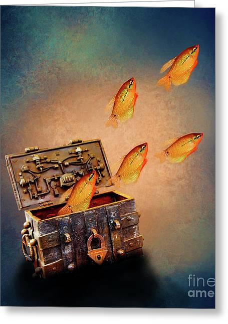 Treasure Chest Greeting Card by KaFra Art