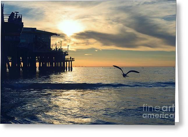 Seagull Pier Sunrise Seascape C1 Greeting Card