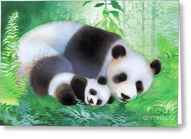 Treasure Garden Pandas Greeting Card by Tracy Herrmann