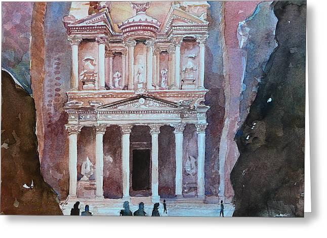 Treasury Building Petra Jordan Greeting Card by Arnel Sarmiento