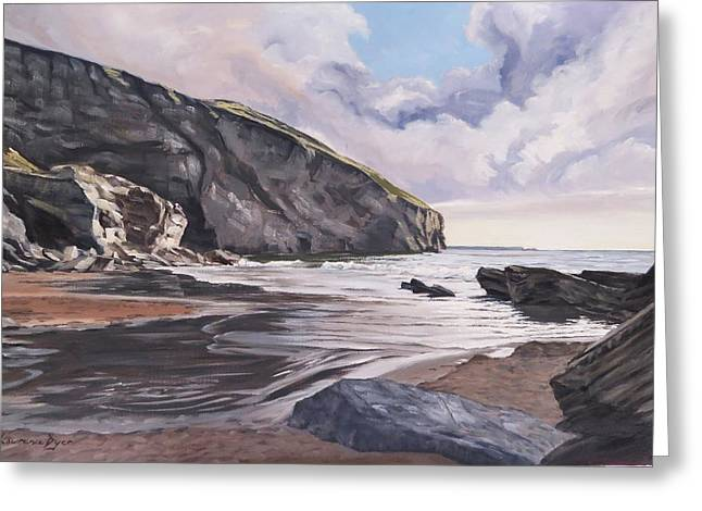 Greeting Card featuring the painting Trebarwith Strand by Lawrence Dyer