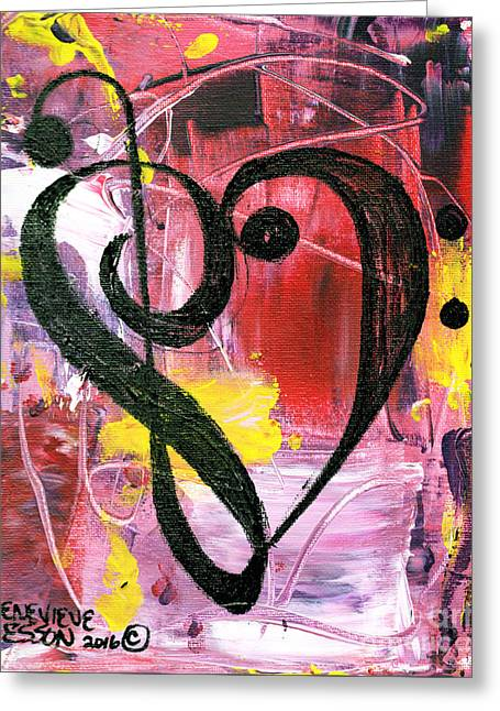 Treble Bass Heart Clef Greeting Card by Genevieve Esson