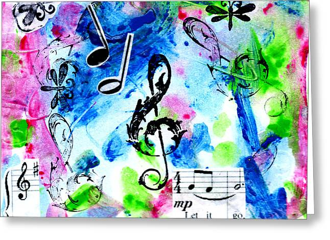 Greeting Card featuring the mixed media Treble Mp by Genevieve Esson