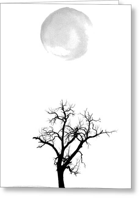 Tree And Moon Greeting Card by Nordic Print Studio