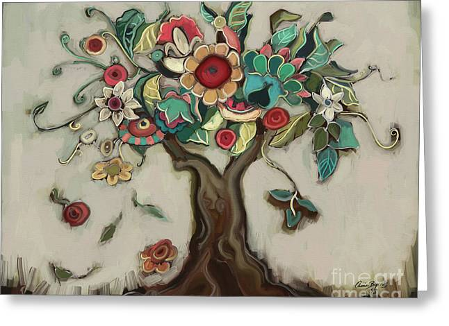Tree And Plenty Greeting Card by Carrie Joy Byrnes