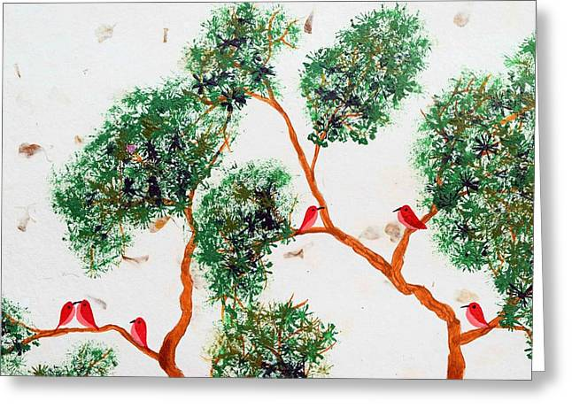Tree And Red Birds 2 Greeting Card by Sumit Mehndiratta