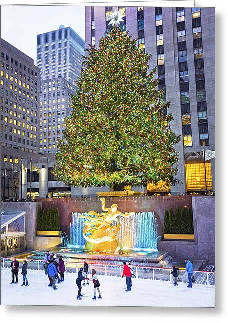 Tree And Skaters 2015 Greeting Card