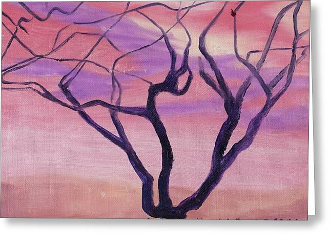 Tree At Sunset Greeting Card by Suzanne  Marie Leclair