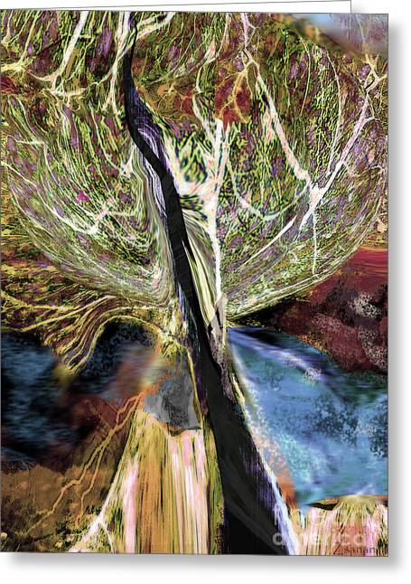 Tree Bent By Wind Greeting Card