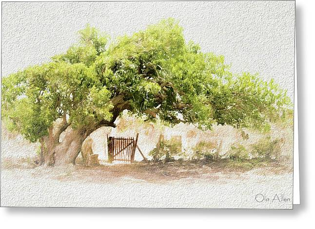 Tree By The Gate Greeting Card