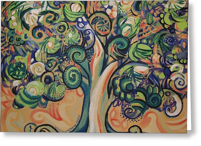 Acrylic On Stretched Canvas Greeting Cards - Tree Candy Greeting Card by Genevieve Esson