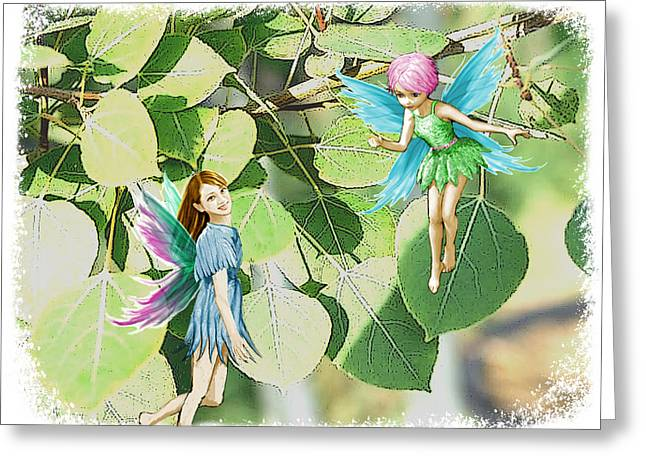 Tree Fairies Among The Quaking Aspen Leaves Greeting Card