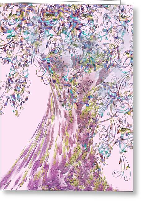 Greeting Card featuring the digital art Tree Fancy by Katy Breen