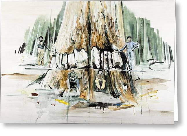 Tree Felling Greeting Card by Calum McClure