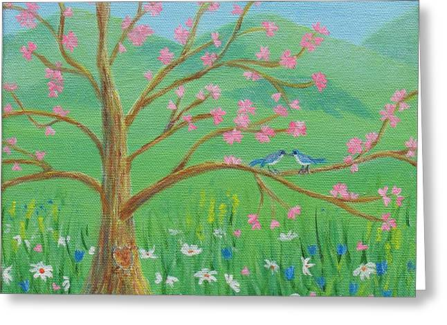 Greeting Card featuring the painting Tree For Two by Nancy Nale