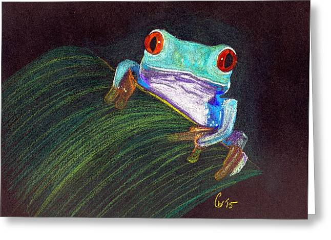 Tree Frog Greeting Card by Crystal Wacoche
