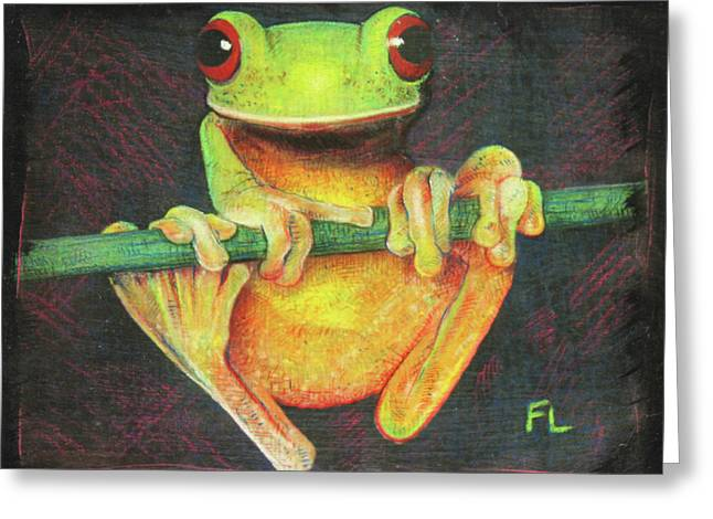 Tree Frog Greeting Card by Fred Loeffler