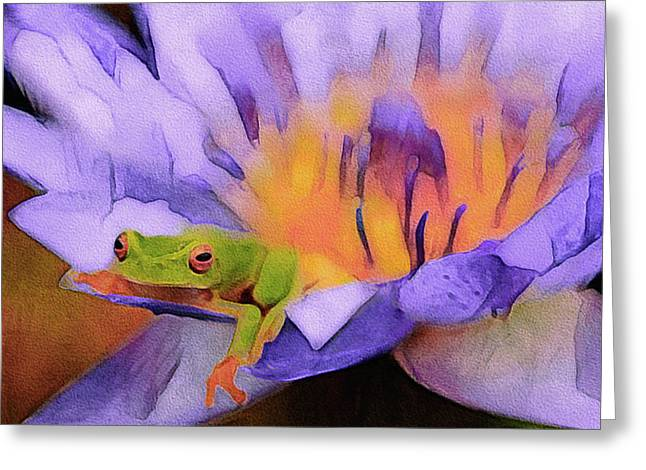 Greeting Card featuring the mixed media Tree Frog In Repose by Susan Maxwell Schmidt