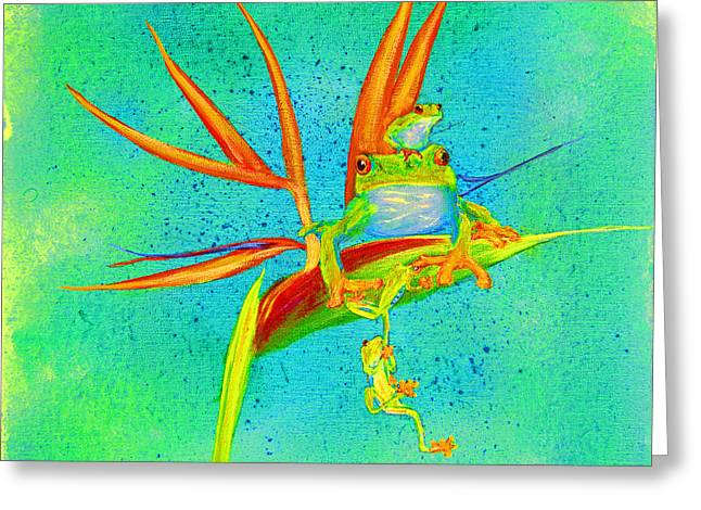 Tree Frog On Birds Of Paradise Square Greeting Card