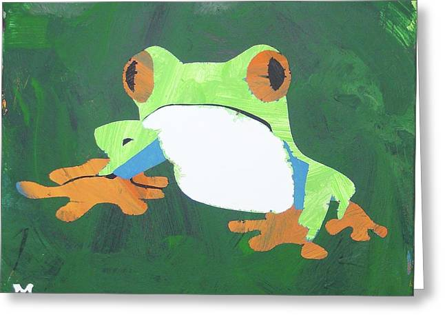 Greeting Card featuring the painting Tree Frog by Candace Shrope