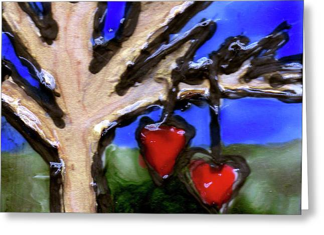 Tree Hearts Greeting Card by Genevieve Esson