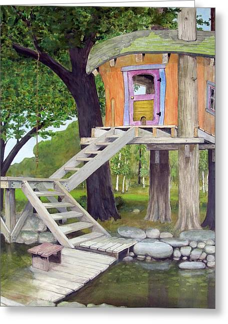 Recently Sold -  - Wooden Stairs Greeting Cards - Tree House Pond Greeting Card by Will Lewis