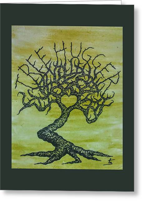 Greeting Card featuring the drawing Tree Hugger Love Tree by Aaron Bombalicki
