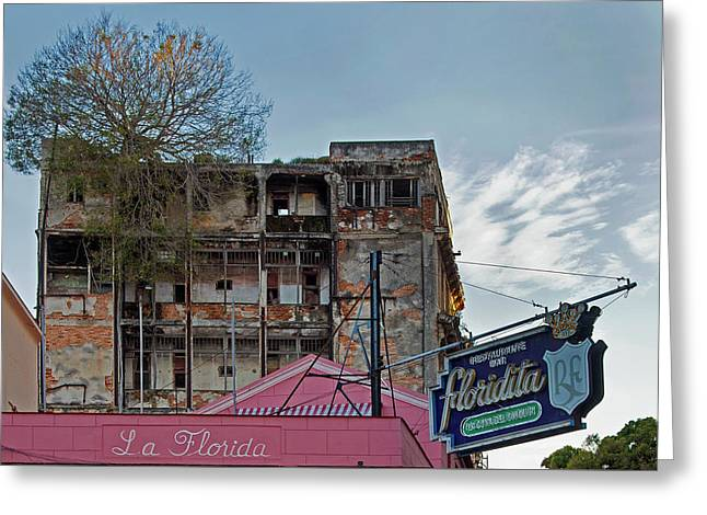 Greeting Card featuring the photograph Tree In Building Over La Floridita Havana Cuba by Charles Harden