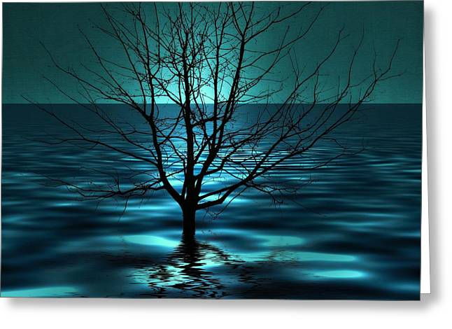 Tree In Ocean Greeting Card by Marianna Mills