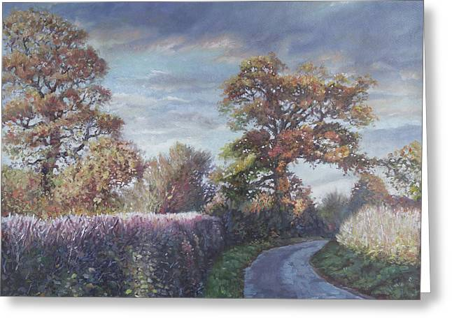Greeting Card featuring the painting Tree Lined Countryside Road by Martin Davey