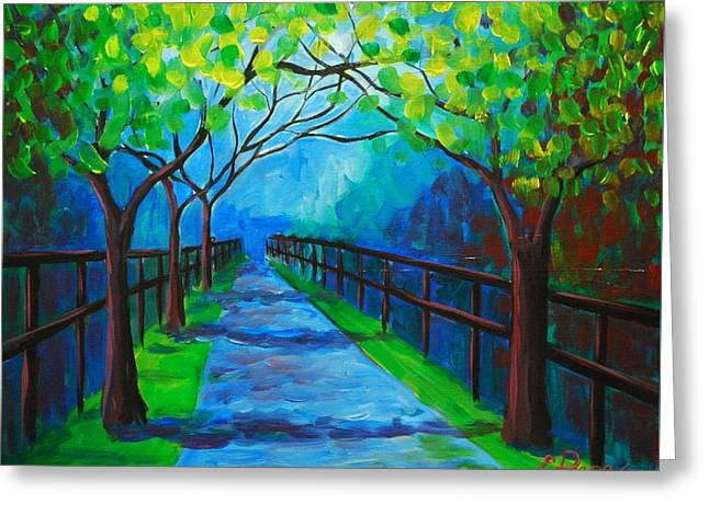 Tree Lined Fence Greeting Card