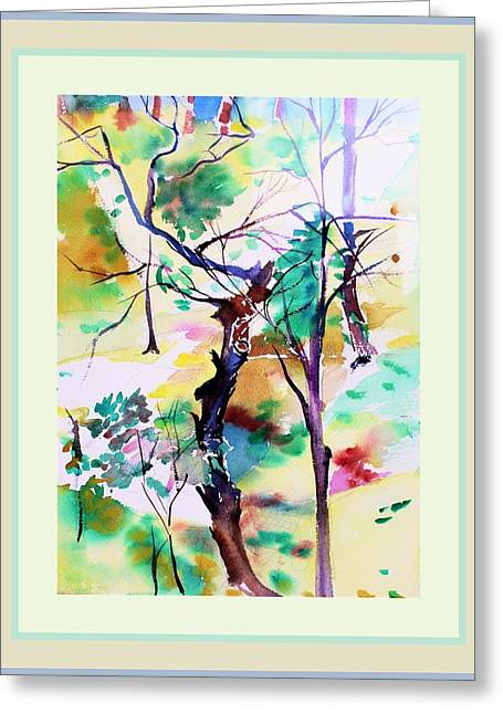 Greeting Card featuring the painting Tree Lovers by Mindy Newman