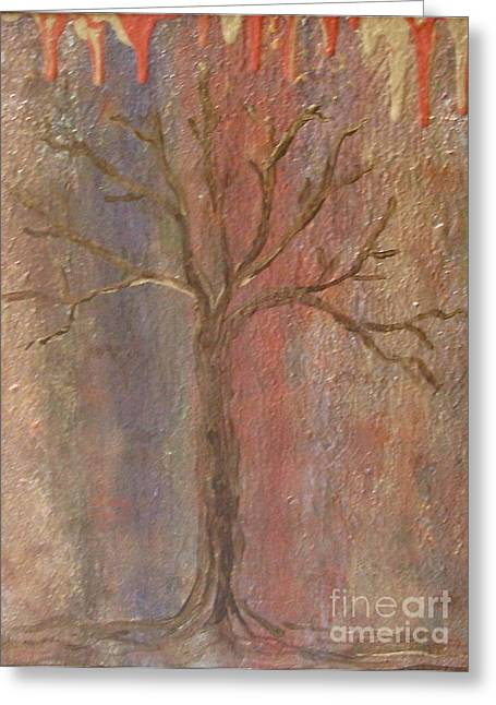Abstract Movement Greeting Cards - Tree - Metallic 1 Greeting Card by Jacqueline Athmann